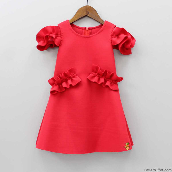 Pre Order: Red Off-shoulder Dress