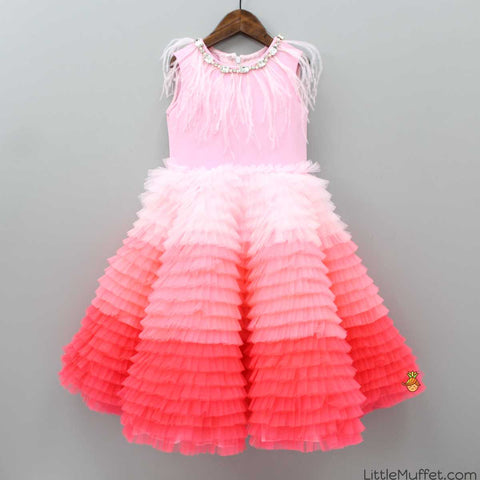 Pre Order: Shaded Pink Frill Feather Gown