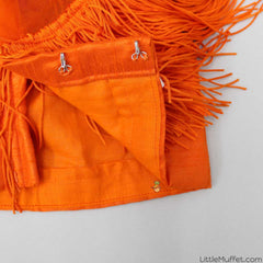 Pre Order: Orange Fringe Top With Floral Skirt