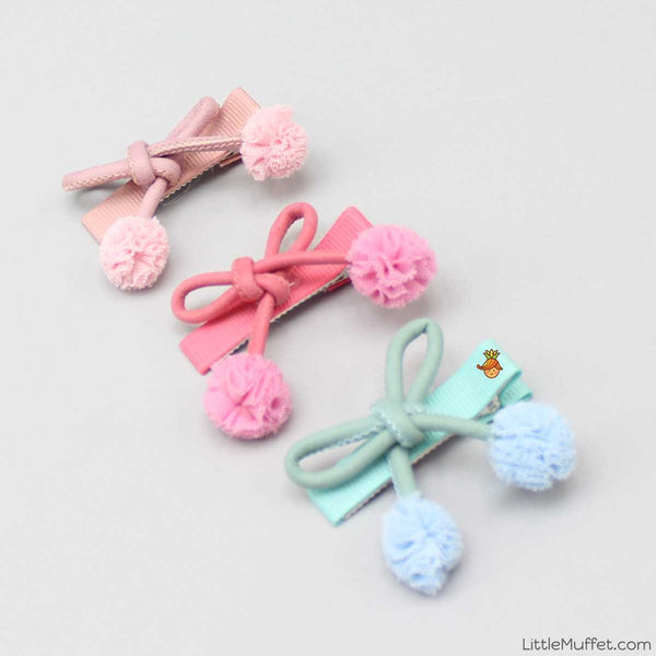 Pom Pom Hairclip - Set of 3