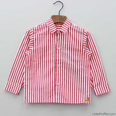 Pre Order: Red Strip Shirt With Jacket