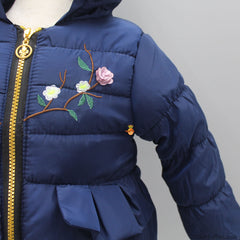 Floral Embroidered Jacket - Navy Blue