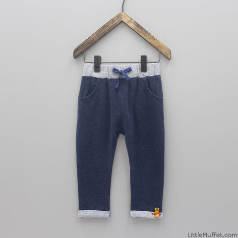 Drawstring Joggers - Blue & Grey