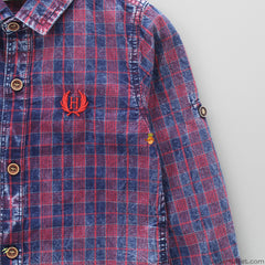 Navy Blue And Red Checks Shirt