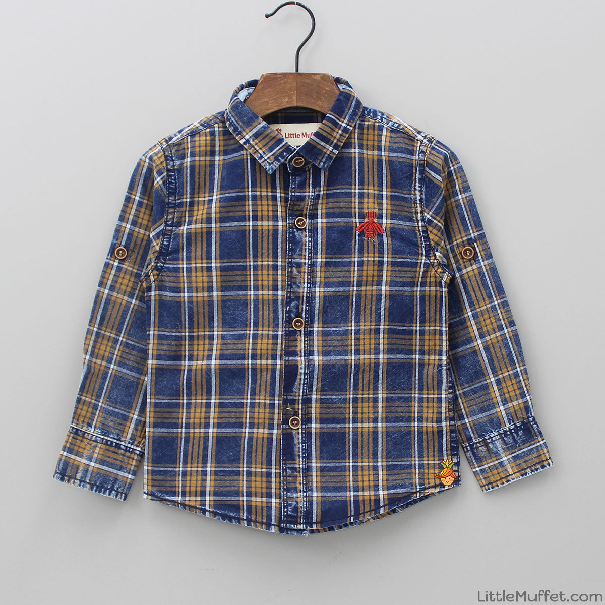 Bee Embroidered Checks Shirt