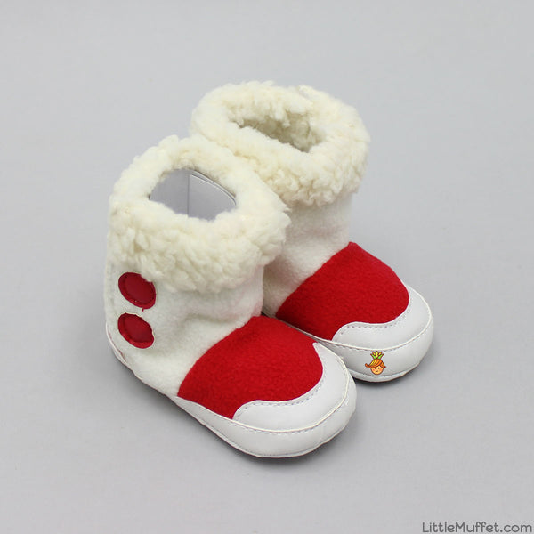 White And Red Furry Boots