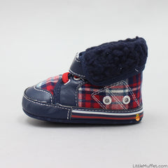 Red And Blue Checks Booties