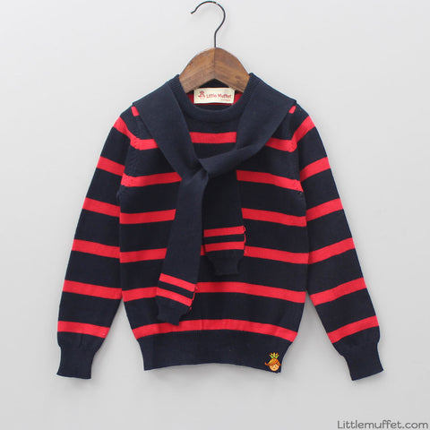 Red And Black Knotty Sweater