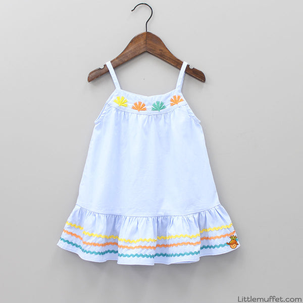 Embroidered Blue Frill Short Dress