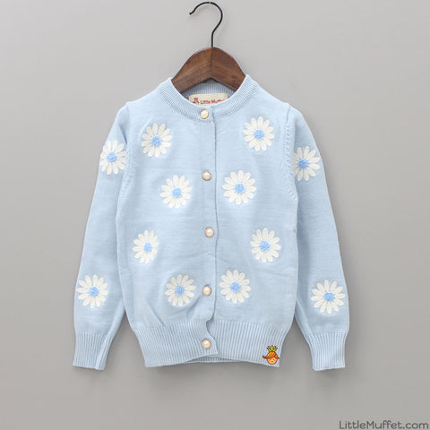 Floral Embroidered Blue Sweater