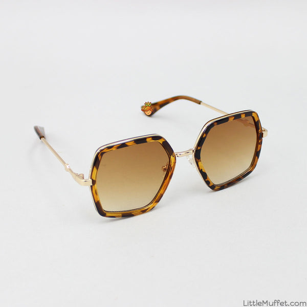 Brown Hexagonal Sunglasses