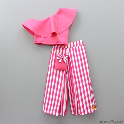 Pre Order: Candy Pink Crop Top With Striped Palazzo