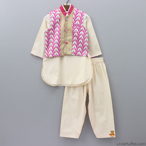 Pre Order: Shaded Pink Jacket Kurta Set