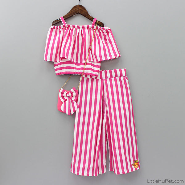 a5f5dadcffb Pre Order: White And Pink Stripe Crop Top With Palazzo Pant | Little Muffet