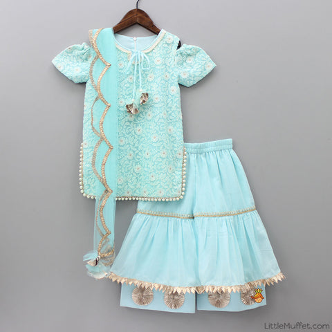 Pre Order: Light Blue Lucknowi Kurti With Sharara