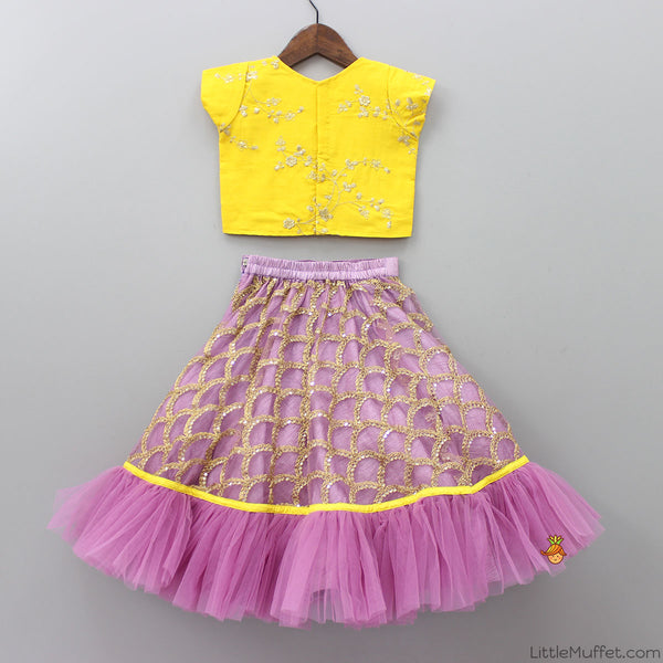 Pre Order: Golden Checks Lehenga With Embroidery Top