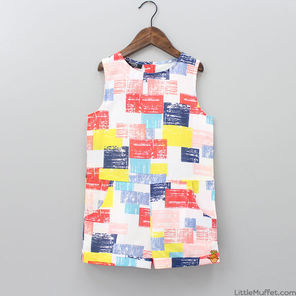 Multi-color Square Shape Romper