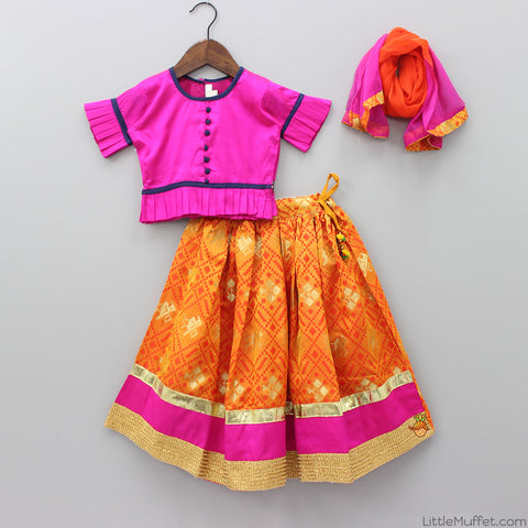 Pink Choli And Orange Lehenga