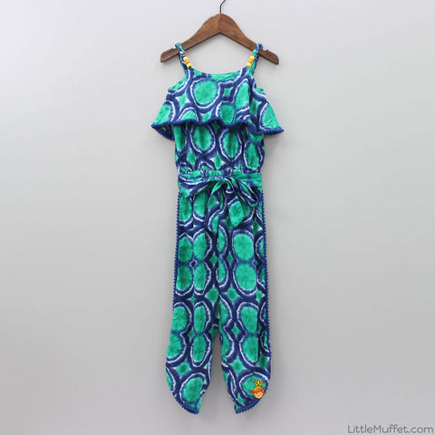 Green Print Long Jumpsuit