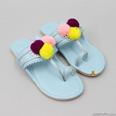 Light Blue Pom-Pom Kolhapuri