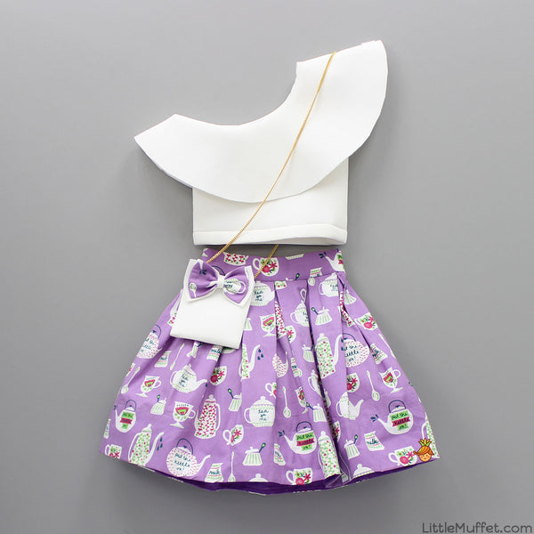 9060adf834c Pre Order: White Lycra Crop Top with Printed Skirt | Little Muffet