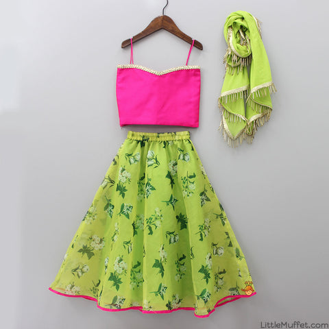 Pre Order: Pink Top With Green Lehenga
