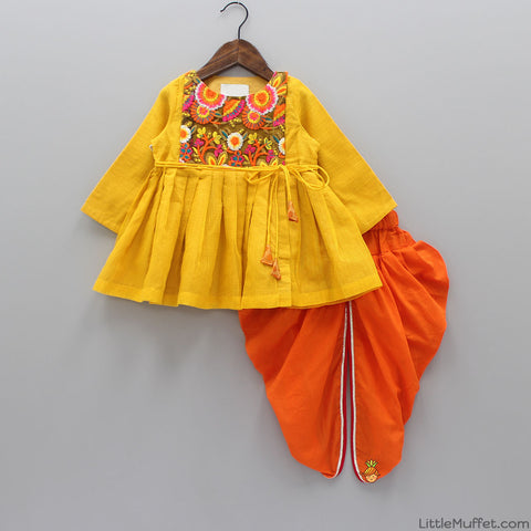 Pre Order: Yellow Gujarati Style Angarkha With Dhoti