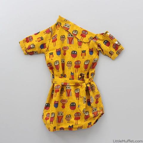 Yellow Owl Print One-shoulder Dress