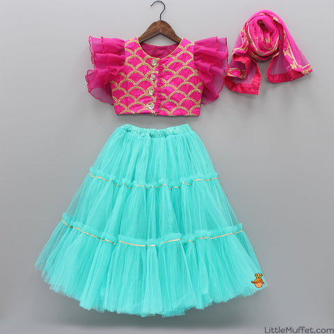 Pink Top With Aqua Blue Ghagra