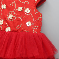Red Embroidered Up And Down Dress
