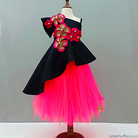 Pre Order: Black High Low Peplum With Tutu Skirt