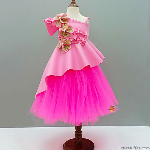 Pre Order: Pink High Low Peplum With Tutu Skirt