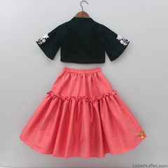 Pre Order: Dark Green Blouse With Carrot Red Skirt