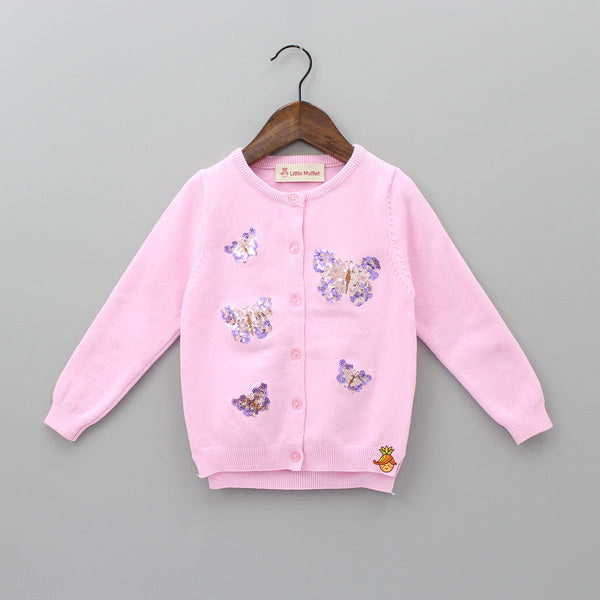Pink Sequin Butterfly Sweater
