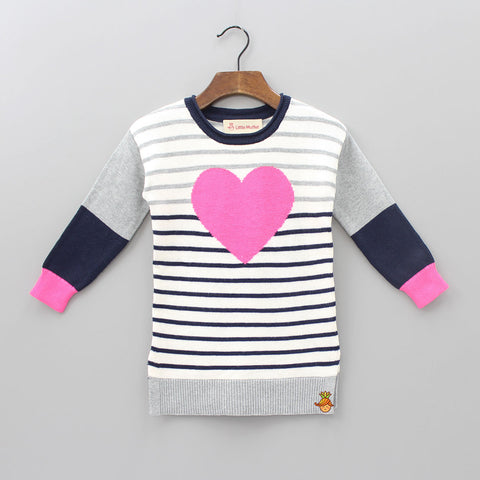 Stripy Pink Heart Sweater