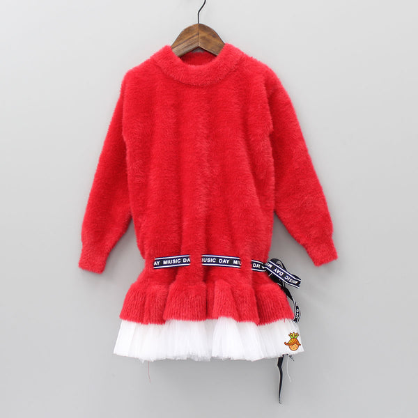 Red Furry Fusion Dress