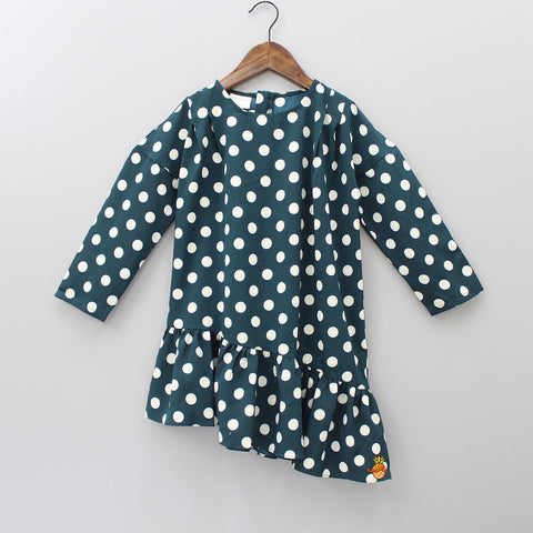 Green Polka Asymmetric Dress