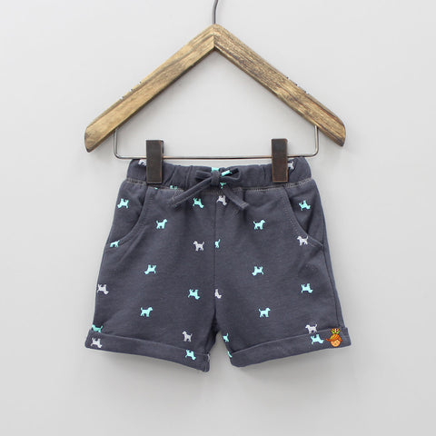 Dark Grey Dog Print Shorts