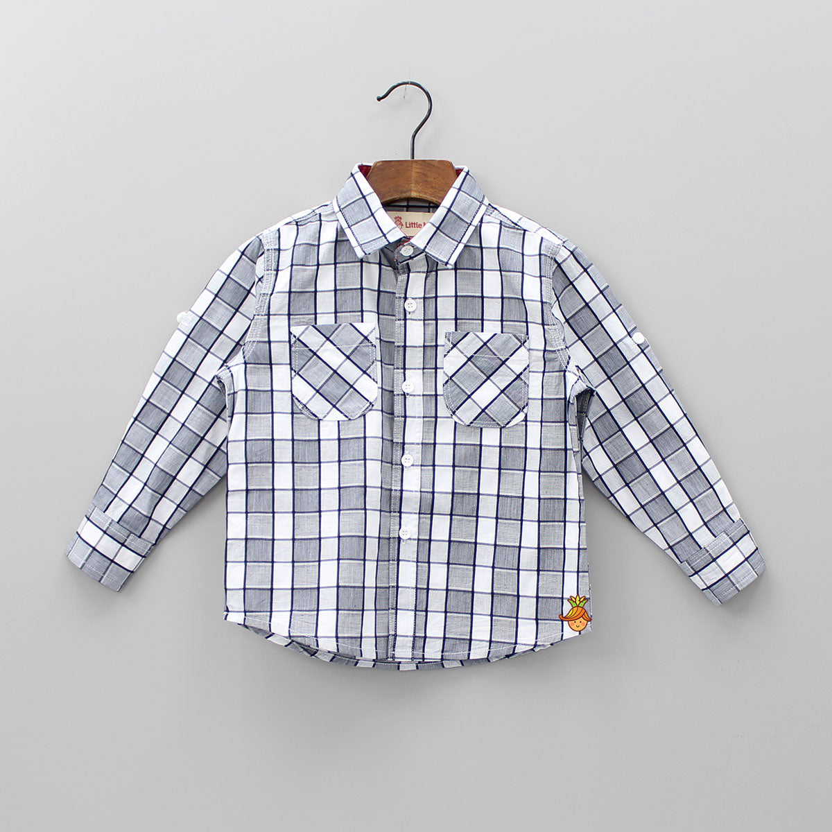 Stylish Grey Checks Shirt