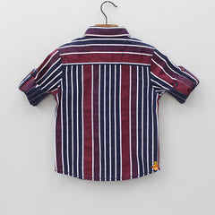 Maroon And Navy Blue Striped Shirt