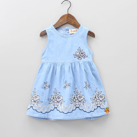 Pretty Flora Denim Short Dress
