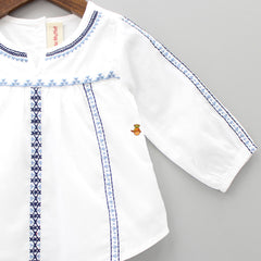 Dual Embroidery White Top