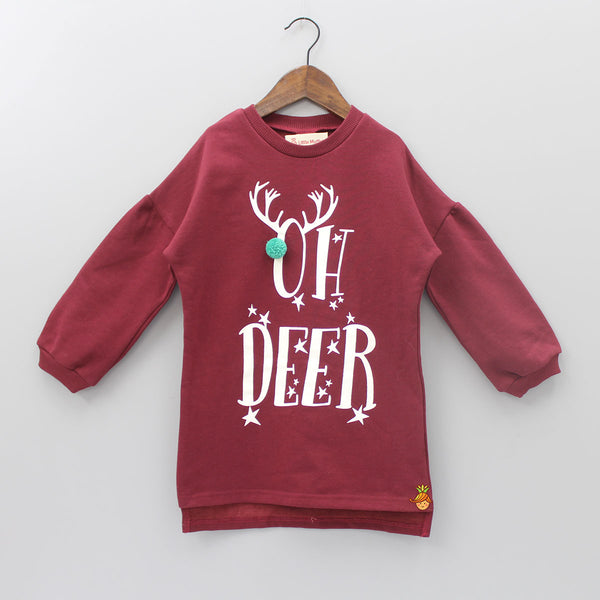 Hello Deer Maroon Dress