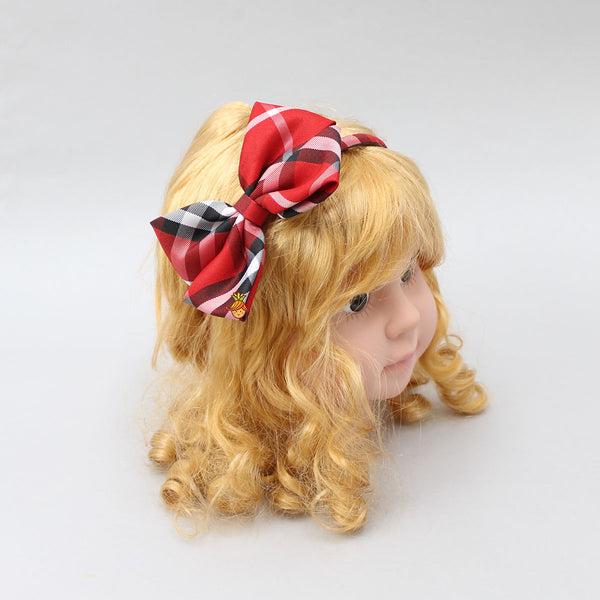 Bowy Checks Hairband - Red