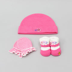 Triple Hearts Cap, Mittens And Socks Set