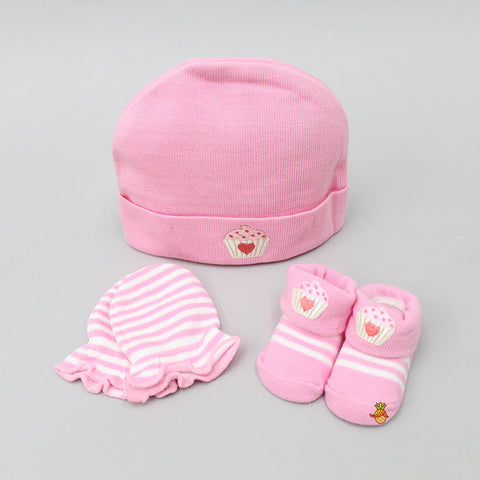 Ice Cream Love Cap, Mittens And Socks Set For New Born