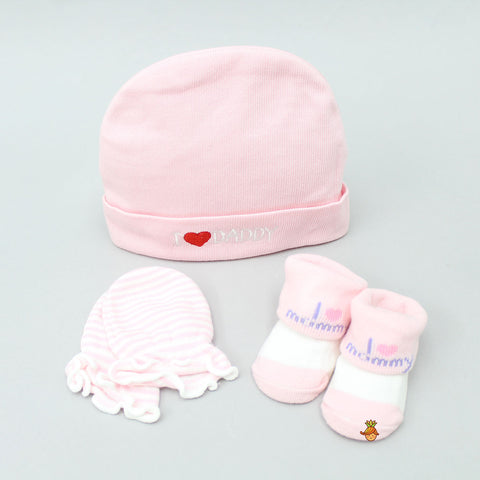 Stripy Embroidery Cap, Mittens And Socks Set For New Born