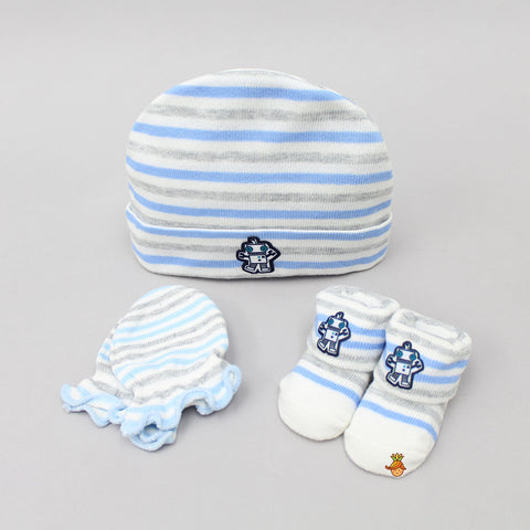 Robot Cap, Mittens And Socks Set For New Born