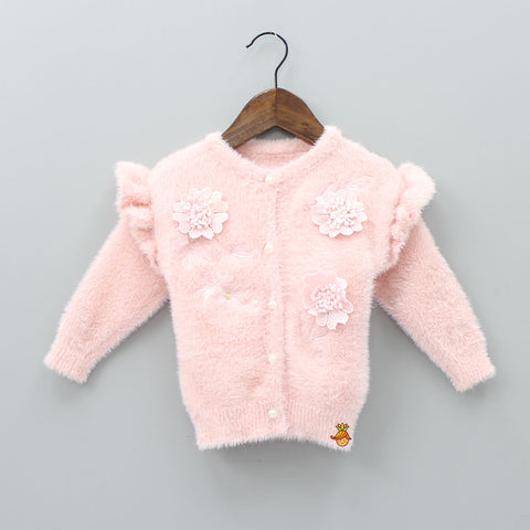 Peach Floral Furry Sweater