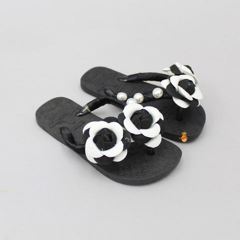Black Pearly Floral Fliip Flops